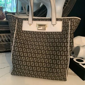 Authentic Fendi black and white tote bag